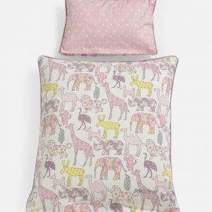Lakan till docksäng med rosa djur