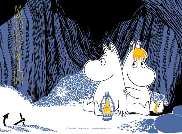 Mumintermos Cave Svart Motiv Lilla Stork