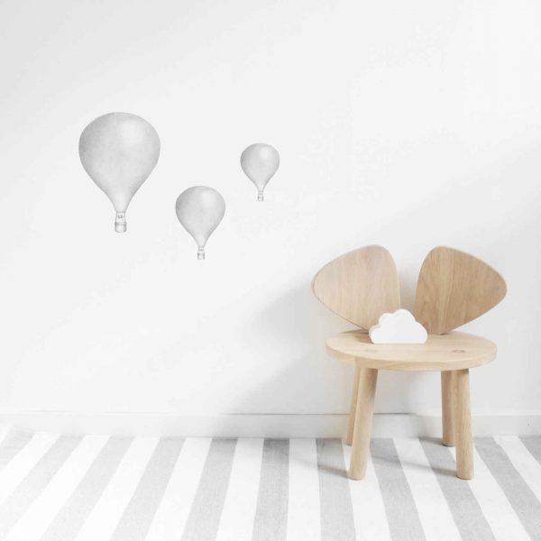 Väggdekor barn Luftballong 3-pack ljusgrå Lilla Stork