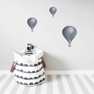 Väggdekor barn Luftballonger 3-pack Morkblå Lilla Stork