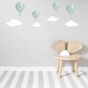 Väggdekor barn Luftballonger mint Lilla Stork