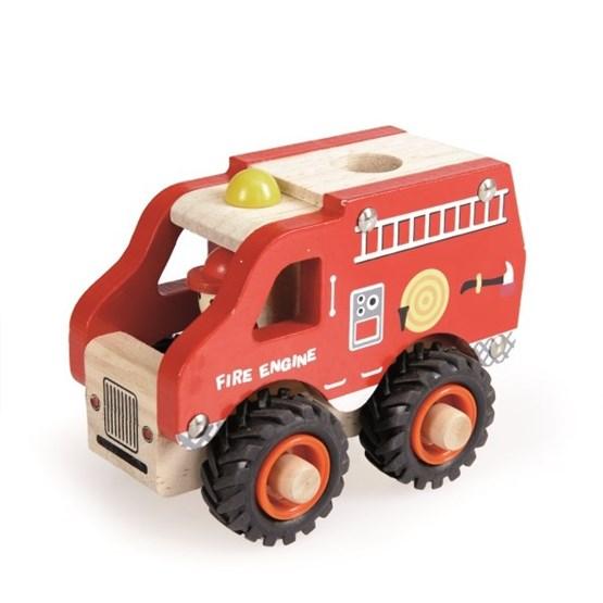 Brandbil i Trä med Gummidäck