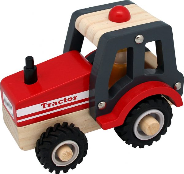 Traktor i Trä med Gummidäck