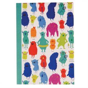 Linjerad anteckningsbok A5 med Glada Monster