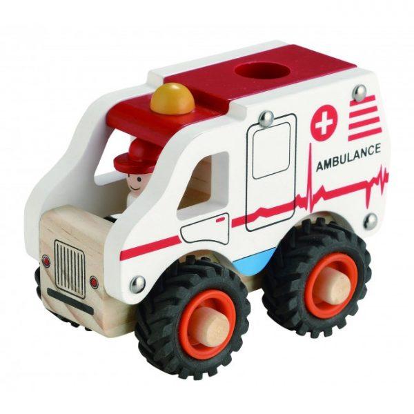 Ambulans i trä med gummidäck