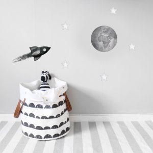 Svart racket måne och stjärnor