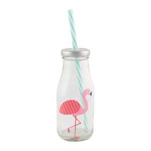 Glasflaska Flamingo med Lock och Sugrör