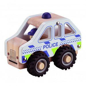 Polisbil i Trä med Gummidäck