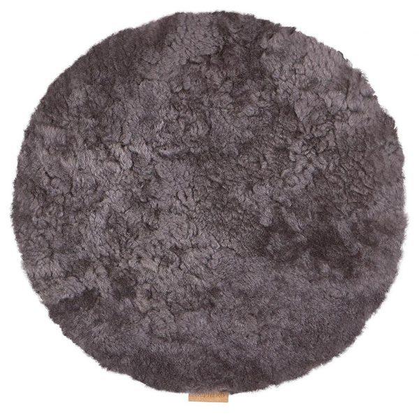 Fårskinnsdyna rund mörkgrå Lilla Stork