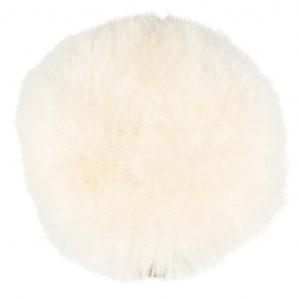 Sittdyna långhårig rund vit Shepherd Lilla Stork