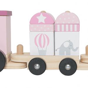 Tåg med klossar dragleksak