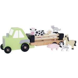 Traktor i trä med djur och släp