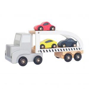 Trailer i trä med bilar